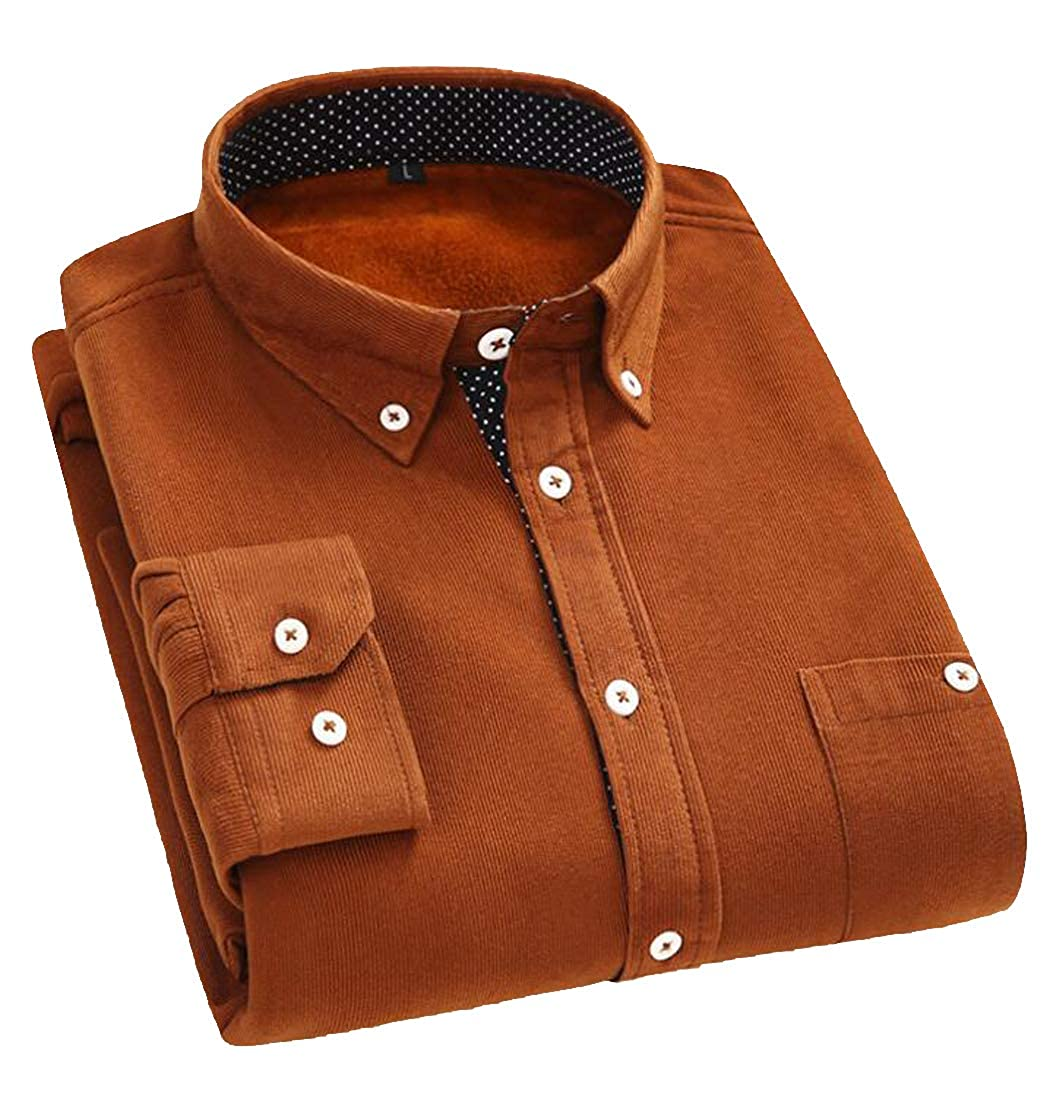Jofemuho Men Solid Winter Long Sleeve Corduroy Fleece Lined Button Up Dress Shirt