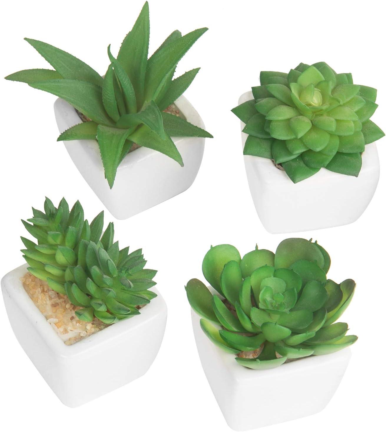 MyGift Lot de 4/plantes artificielles dans des pots en c/éramique blancs modernes
