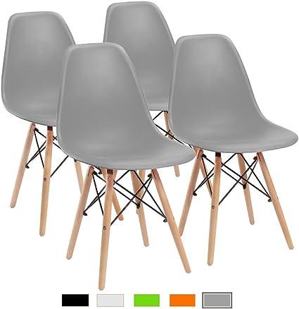 Image of Naturelifestore Juego de 4 sillas de Comedor Estilo de Mediados de Siglo Moderno Sillas de sillas de Madera Lado para Cocina, Comedor, Dormitorio, Sala de Estar (Gris)