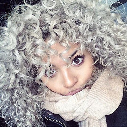 Futuretrend New Heat Resistant Synthetic Black To Grey Curly Wigs Pixie Cut Hair Kinky curly wig For Black Women Peruca Preta (black to (Braided Hair Wigs)