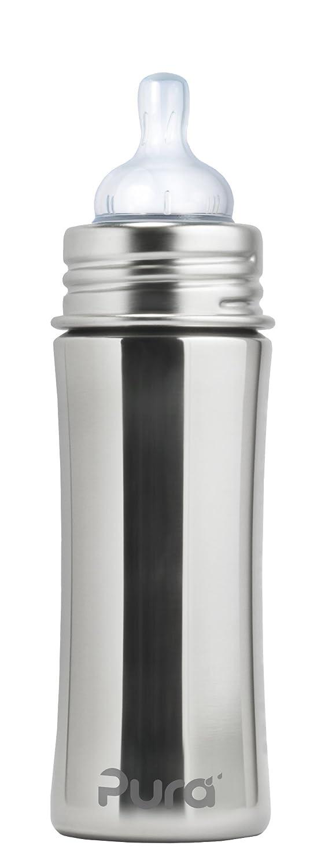 Pura Kiki - Biberó n de acero inoxidable (325 ml) rosa K-11N2-P