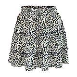 2019 Fashion Women Summer Casual High Waist Ruffled Floral Print Beach Short Skirt (Navy, M)