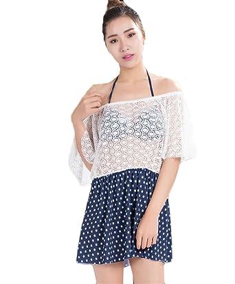 COCO clothing Gasa Encaje Off Shoulder Cover Up Tres Piezas Bikini ...