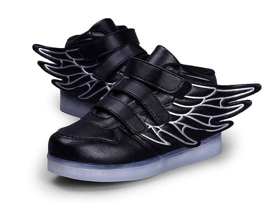 Wings Kids Flash Led Light Up Shoes 7 Kinds of Color Leather Hook /& Loop Black