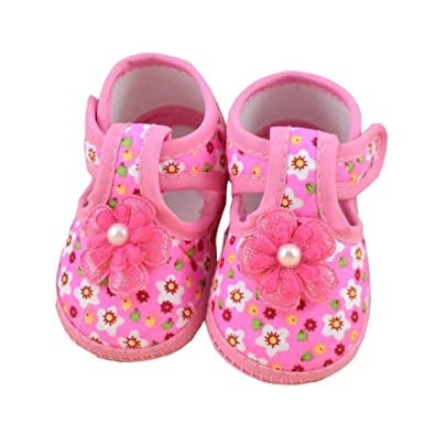 WARMSHOP Lovely Pink Color Baby Girls Flower Boots Soft Crib Hook /& Loop Crib Shoes