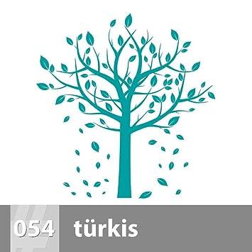 Premiumsticker24 Wandtattoo Baum Mit Blätter | Türkis 115cm X 118cm |  Schlafzimmer Wohnzimmer Kinderzimmer Aufkleber Selbstklebend