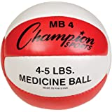 Champion Sports Leather Medicine Ball (Red/White, 4 - 5-Pound)