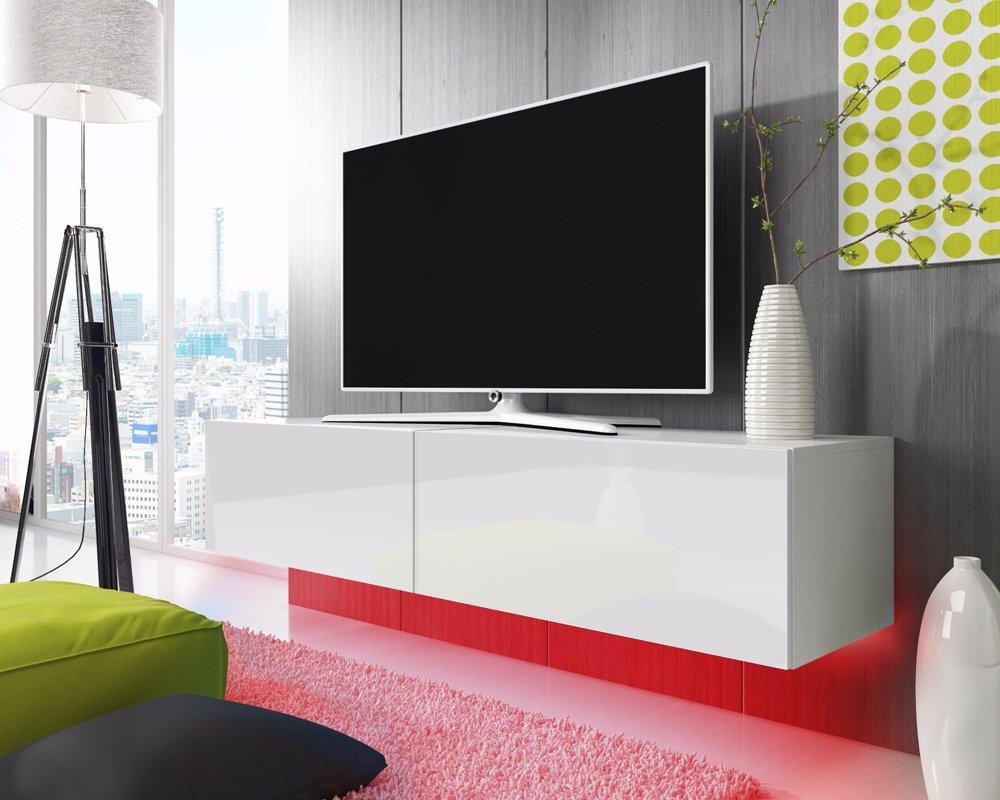 Tv schrank weiß hochglanz  TV Schrank Lowboard Hängeboard SIMPLE mit LED Blau (Weiß Matt ...