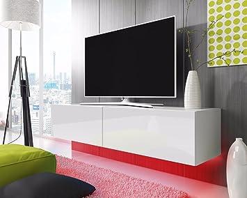 Lowboard weiß matt  TV Schrank Lowboard Hängeboard SIMPLE mit LED Blau (Weiß Matt ...