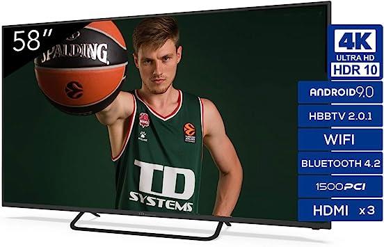 Televisiones Smart TV 58 Pulgadas 4K Android 9.0 y HBBTV, 1500 PCI Hz UHD HDR, 3X HDMI, 2X USB. DVB-T2/C/S2, Modo Hotel: Amazon.es: Electrónica