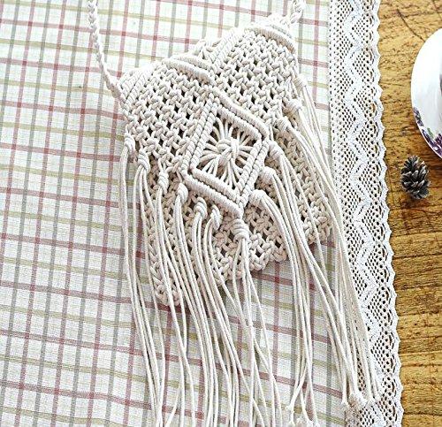 Retro Stile Vacanze Cotone Mdrw Crossbody Tessuto Sacchetto Bianca Popolare Bag Di Spiaggia Marrone Nappe Mano Arte lady Nuovo RqtW0