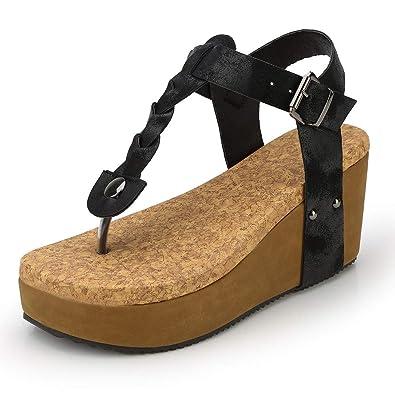 0df93030c73 Womens Sandals Espadrille Wedges Platform T-Strap Peep Toe Roman Flip Flop  Bohemian Beach Open