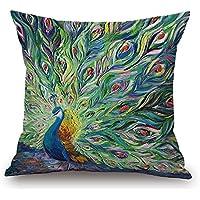 "SLS Cotton Linen Decorative Throw Pillow Case Cushion Cover lion Piillow case 18"" X18 Color peacock (2)"