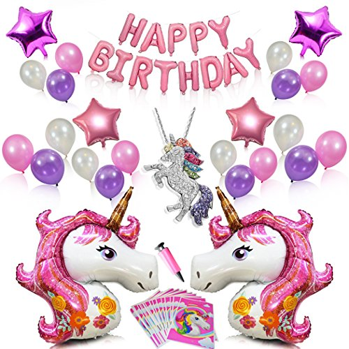 Pink Unicorn Party Supplies for Girls Birthday Decorations-