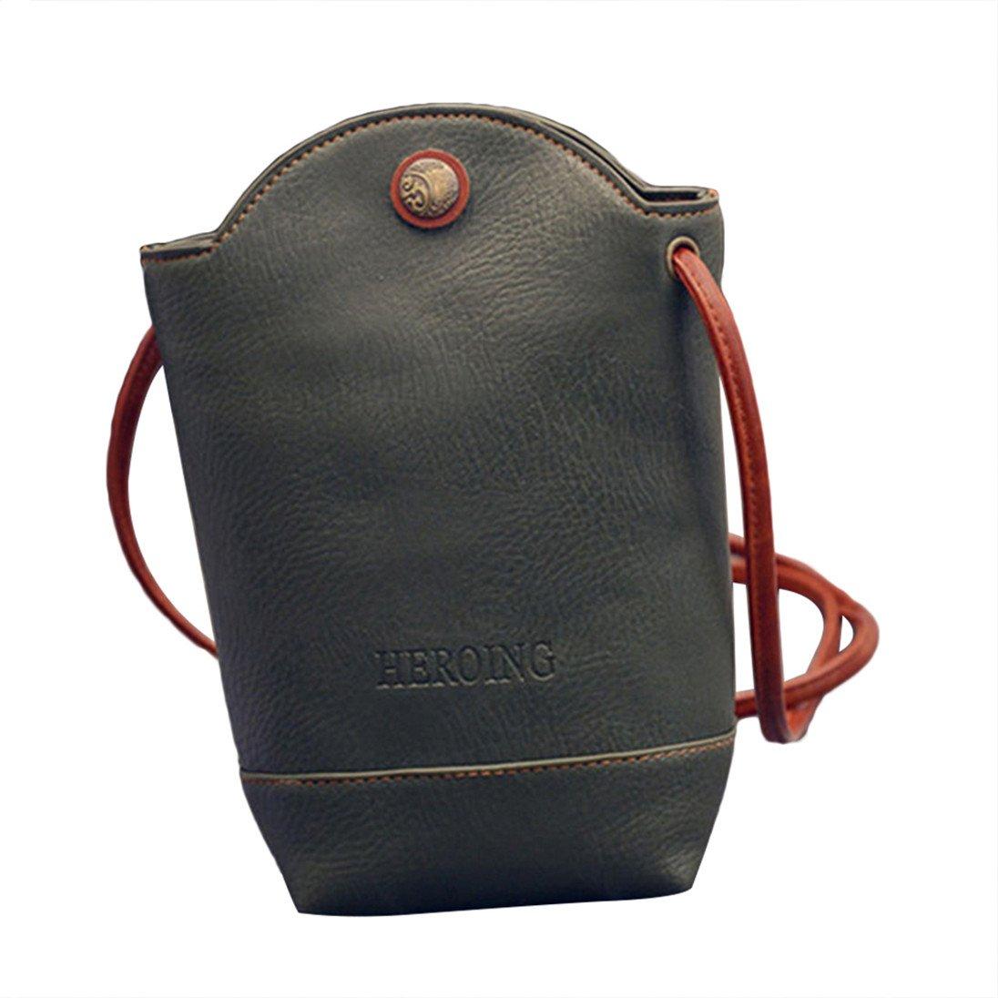 Colorido Fashion Womens Mini Faux Leather Cross Body Bag Purse Bucket Phone Bag