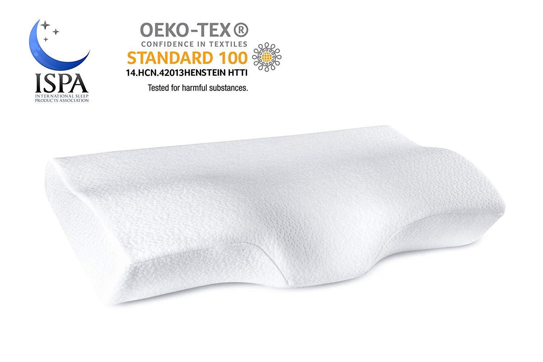 YANXUAN Contour Memory Foam Pillow for Neck Pressure Relief, Cervical Pillow Ergonomic Neck Pillow with Washable Pillowcase, 23.6'' X 13.8'' X 4.3''