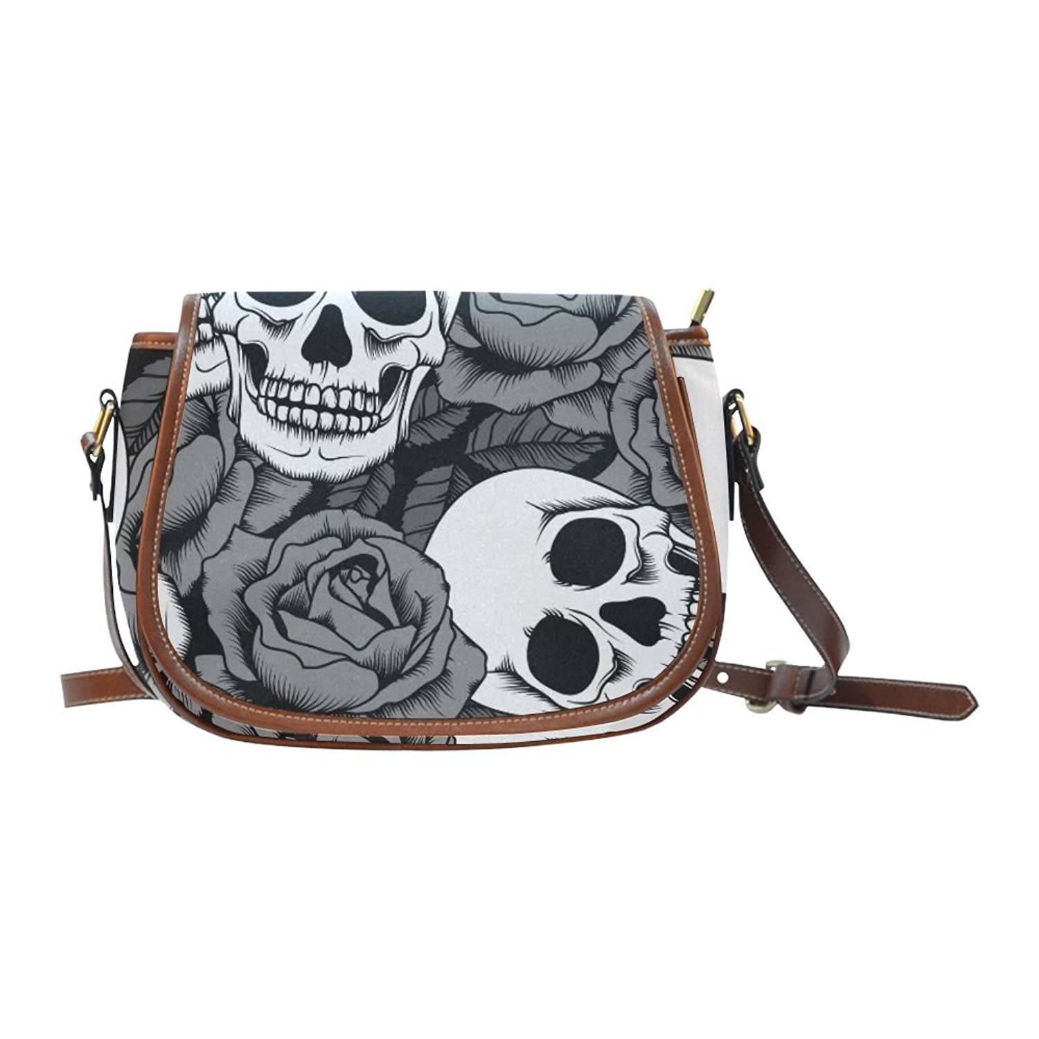 Sugar Skull Dia De Los Muertos Women's Waterproof Cross-body Shoulder Travel Saddle Bag Purse