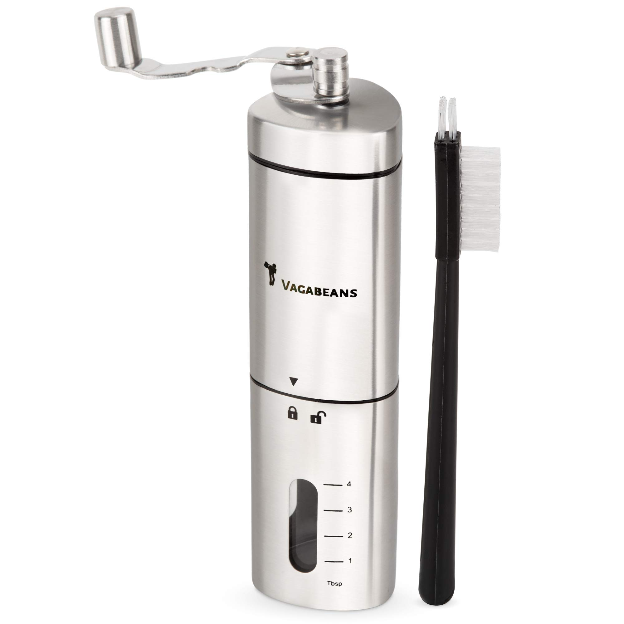 Improved Manual Coffee Grinder (Hand Coffee Grinder) with Easier to Grasp Triangle Shape. New Design for Easier, More Effective Burr Grinding. Stainless Steel, Portable with Folding Metal Handle