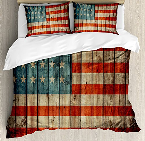 Decorative Painted Bed Set - Ambesonne USA Duvet Cover Set, Fourth of July Independence Day Painted Old Wooden Rustic Background Patriot, Decorative 3 Piece Bedding Set with 2 Pillow Shams, King Size, Blue Red