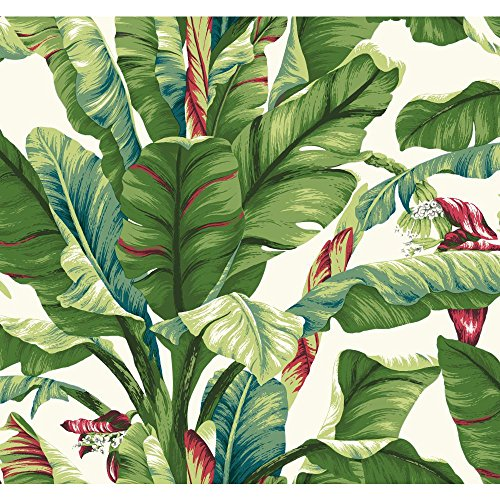 - York Wallcoverings Tropics Banana Leaf Removable Wallpaper, Green