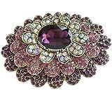 Sindary 4.33'' Purple Rhinestone Crystal Teardrop Flower Brooch Pin Pendant BZ6368