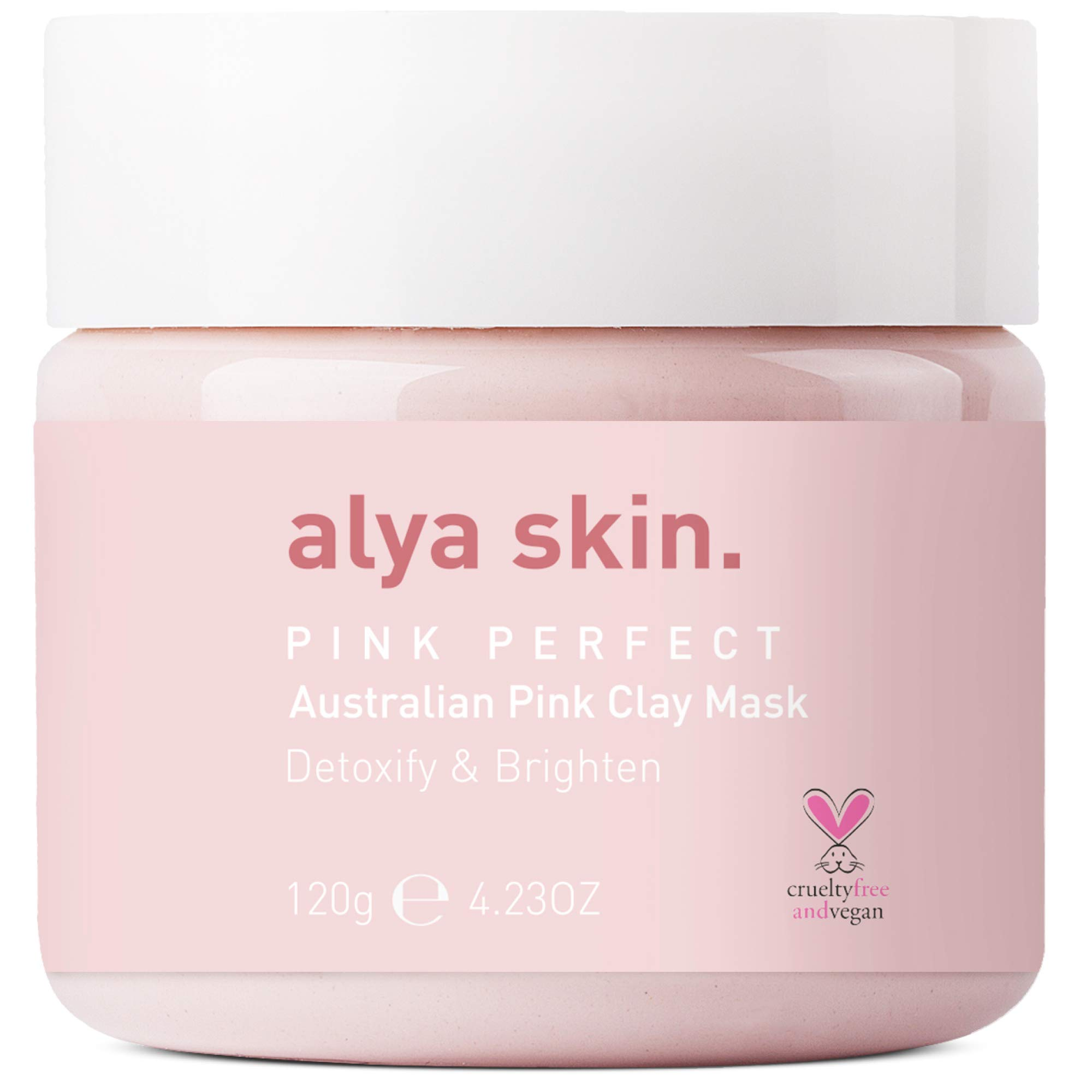 Alya Skin Australian Pink Face Mask - 100% Natural Kaolin Clay with Vitamin E - Deep Pore Skin Cleansing and Detox - Purifying & Brightening Beauty Facial - Cruelty Free & Vegan - 4.32 oz. 120 gm.