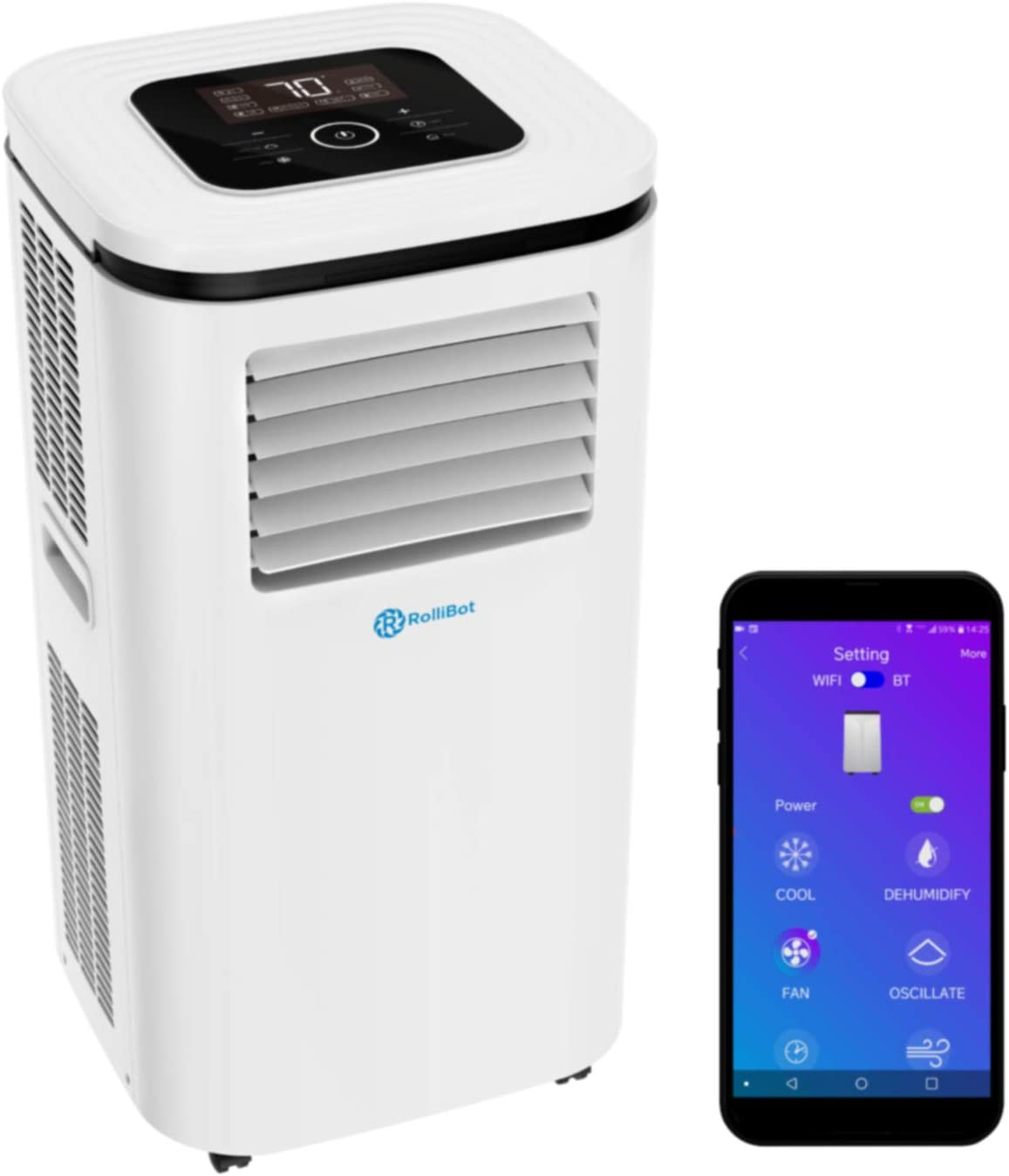 Rollibot ROLLICOOL 14,000 BTU Portable Air Conditioner w/App & Alexa Voice Control | Wi-Fi Enabled Portable AC & Dehumidifier | Quiet Operation, Easy Installation (Model: 100H-20)