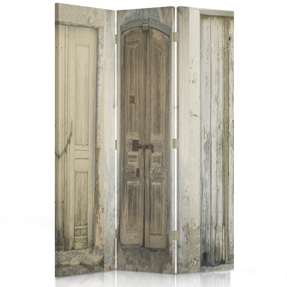 Feeby Frames Canvas Screen, Decorative Room Divider, Paravent, Double sided, 3 panels (110x150 cm) DOORS,BUILDING, RUSTIC, BROWN