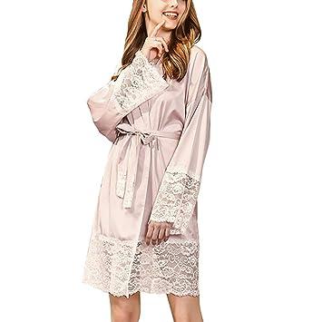 Forall-Ms Bata De Kimono para Mujer, Albornoces De SatéN De Seda De Encaje
