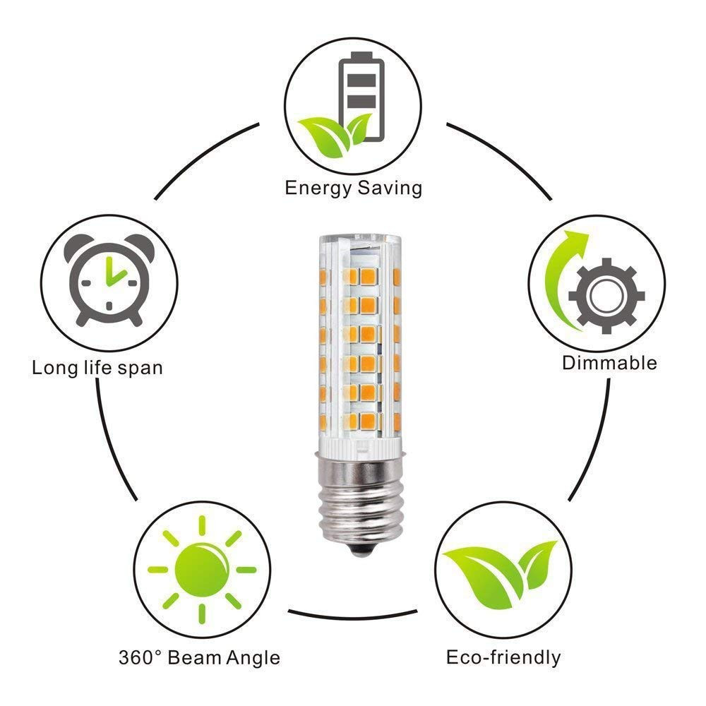 E17 LED Light Bulb 6W Dimmable T7 Microwave Stove Light Bulb,550lm for Microwave Oven Appliance Warm White3000k T7 Intermediate Base Bulb Pack of 2