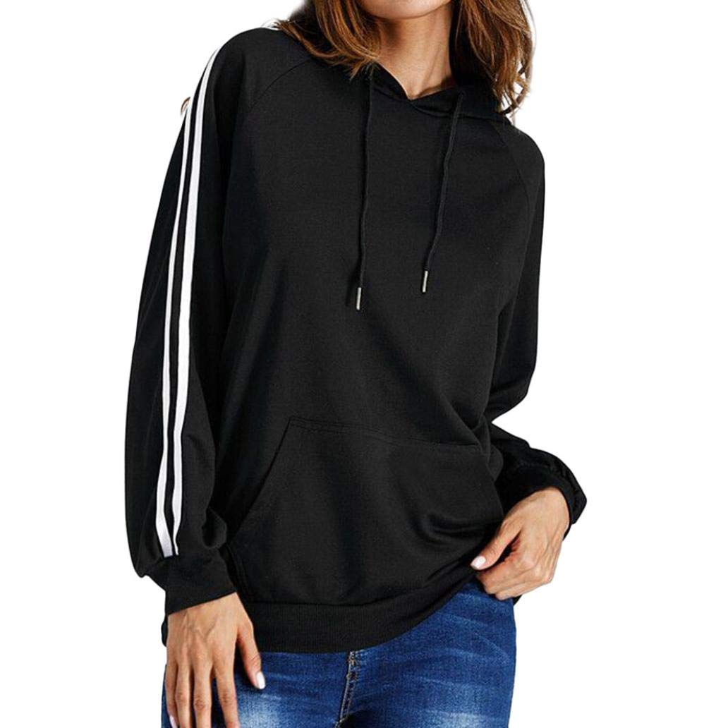 TONSEE Womens Striped Printed Pocket Front Hoodie Long Sleeve Pullover Tops