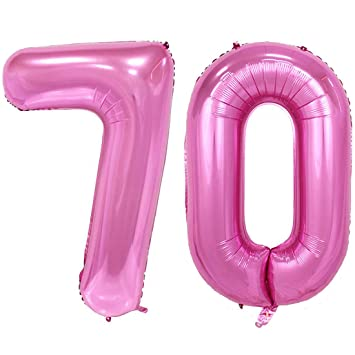 40inch Jumbo 70 Rose Pink Foil Helium Digital Number Balloons 70th Birthday Decoration For Women