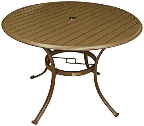 Panama Jack Outdoor Island Breeze Slatted Aluminum Round Dining Table In  Espresso Finish With Umbrella Hole