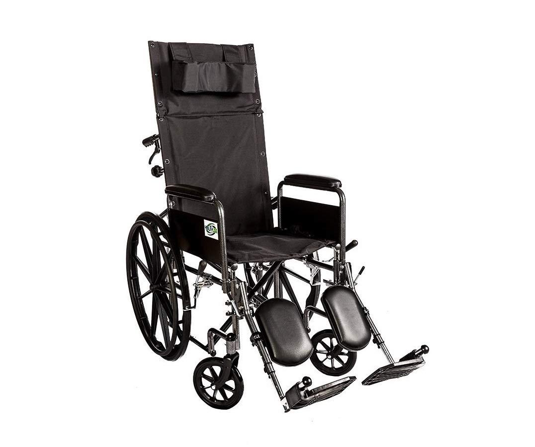 Healthline Recliner Folding Wheelchair Lightweight Full Arm Detachable Padded Flip Back with Swing Away Elevating Legrests Lightweight Carbon Steel Folding Wheelchair, 18 Inch Seat by HEALTHLINE