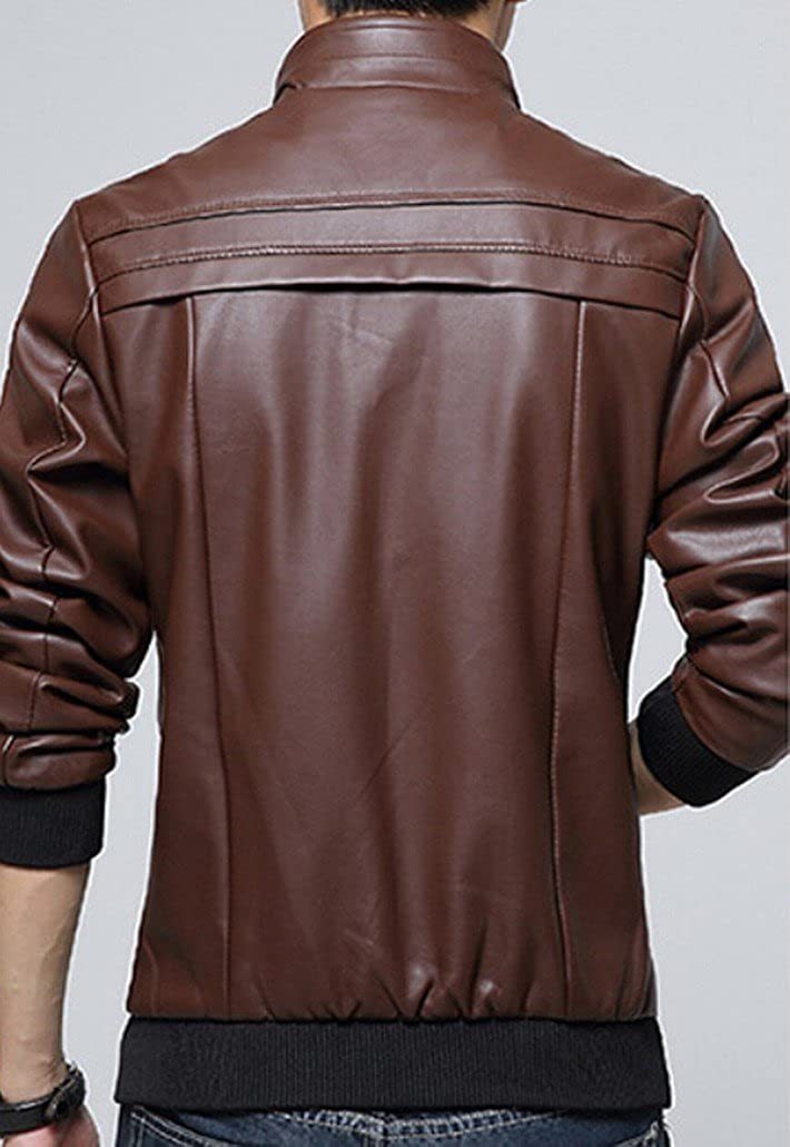 GAGA Mens Fall Collar Synthetic Leather Slim Jacket Coffee S
