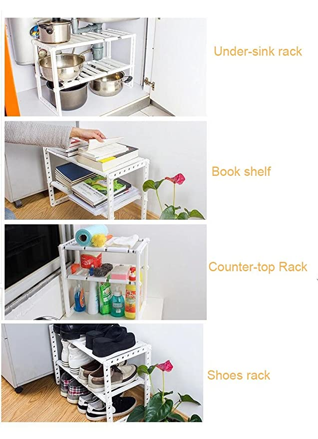 Charmant Amazon.com   Adjustable And Expandable Under Sink Organizer/ Under Sink  Shelf/ Under Sink Rack (White)