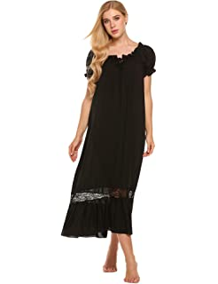 Asherbaby Women s Long Sleeve Vintage Lace V Neck Nightgown Cotton ... d6b1395e8