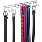 mDesign Closet Wall Mount Metal Accessory Organizer and Storage Center - Modern Slim Holder for Womens and Mens Ties, Belts, Scarves, Sunglasses, Watches - Hardware Included- 12 Hooks - Chrome