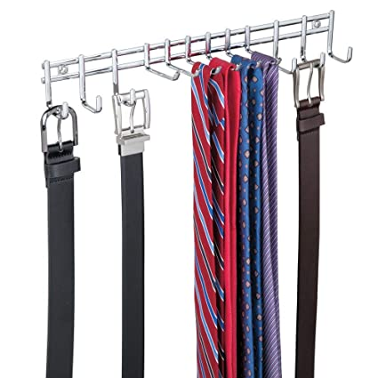 varietà di stili del 2019 taglia 40 nuovi prezzi più bassi mDesign appendino– appendiabiti per cravatte e cinture da appendere –  portacravatte ideale anche per sciarpe, borse e indumenti - cromato