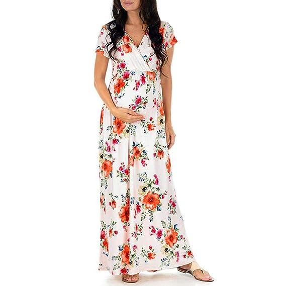 BBsmile Ropa premamá Mujeres Embarazadas Vestido de Embarazo para Lactancia Impresión Floral Vestido Largo Maternidad