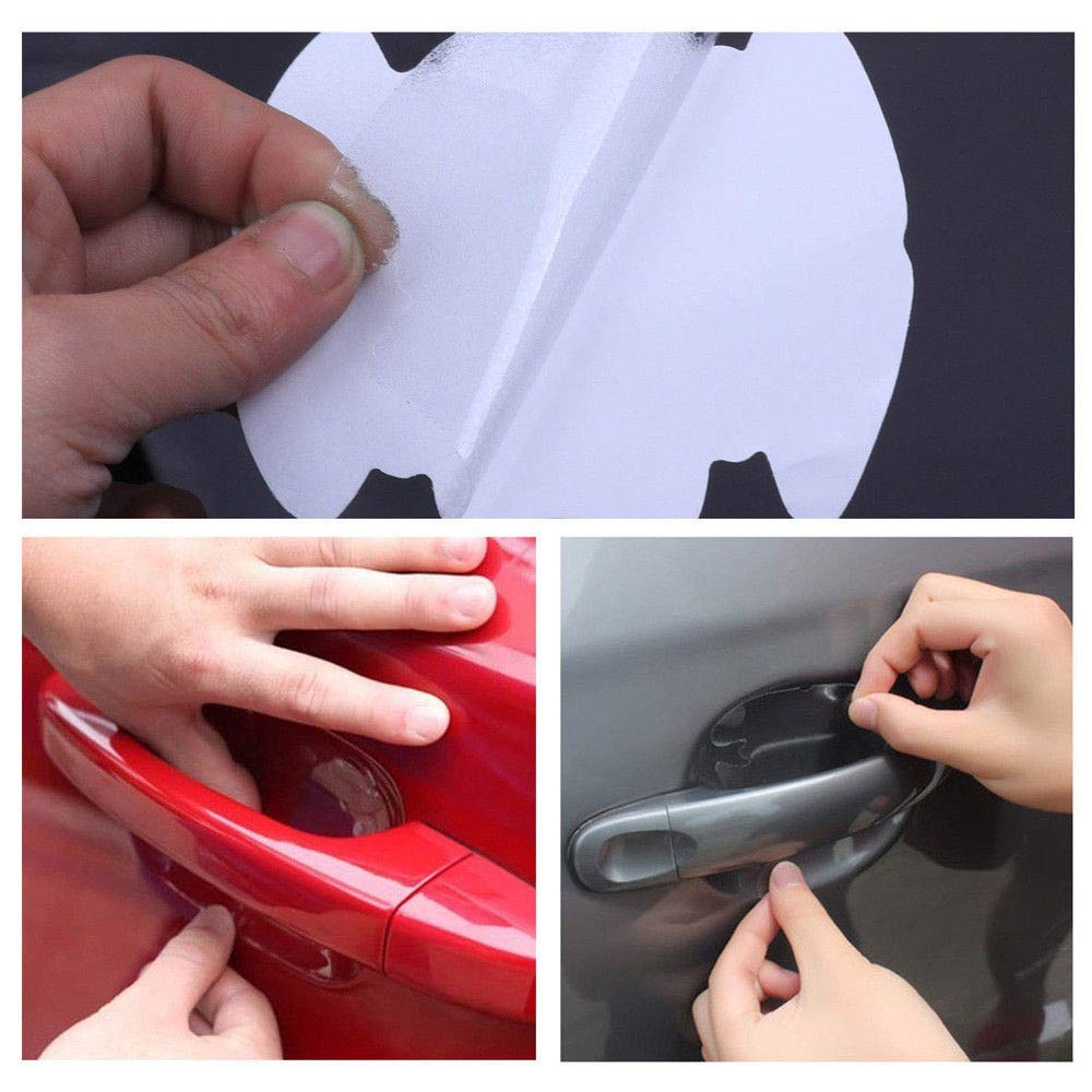 Ecosin 8pcs Invisible Clear Car Door Handle Protector Film Scratch Guard Cover Sticker