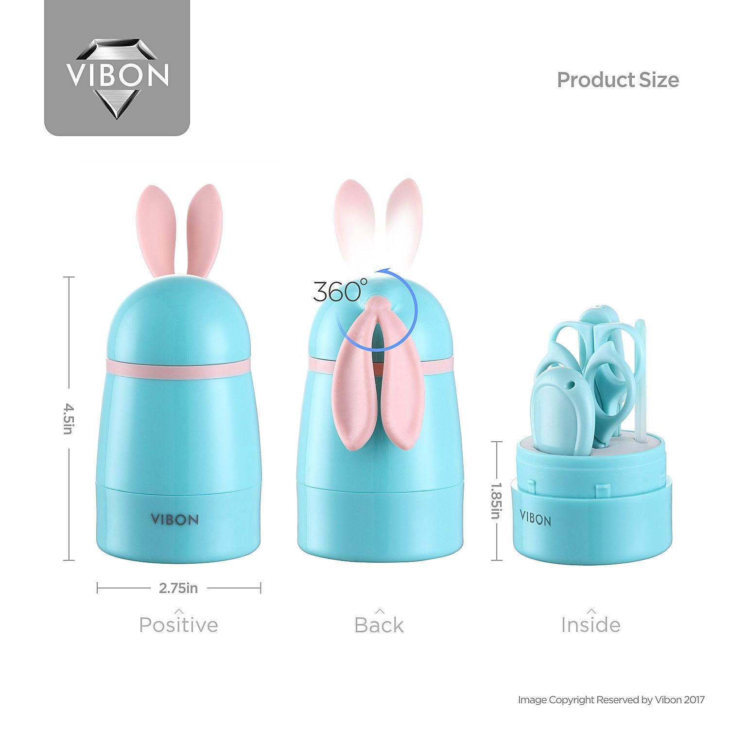 VIBON Green Rabbit Shape Baby Manicure Kit,Safe Baby Nail Clipper,Scissors,Tweezers and Nail File(5Pcs),Baby Nail Care Set for Newborn,Infant,Toddler,Kids