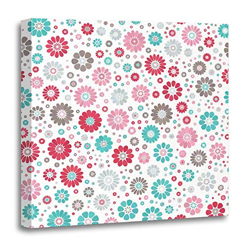 (Emvency Painting Canvas Print Wooden Frame Artwork Pink Dusty Blue Sky Gray Gradient Spot Flower on White Mid Century Mod Abstract Decorative 12x12 Inches Wall Art for Home Decor)