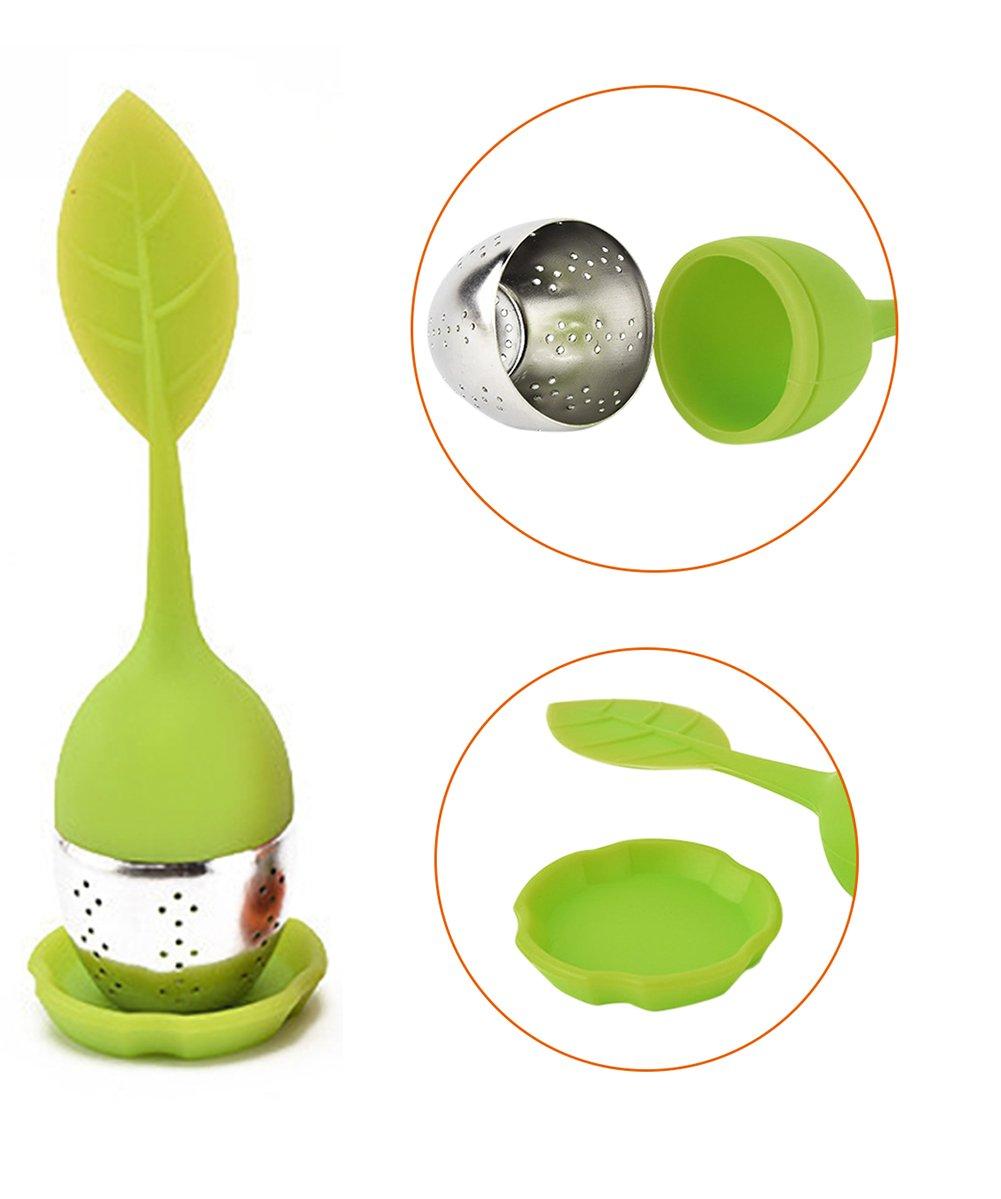 Vlunt 4pcs Filtro de t/é colador de t/é con mango de hojas de silicona y fondo de acero inoxidable