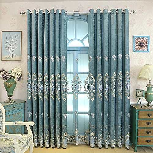 pureaqu Room Darkening Floral Embroidery Chenille Blackout Window Living Room Grommet Top Curtain Drapes Panels For Bedroom Energy Efficient Window Treatment Draperies 1 Panel 52Wx84L inch ()