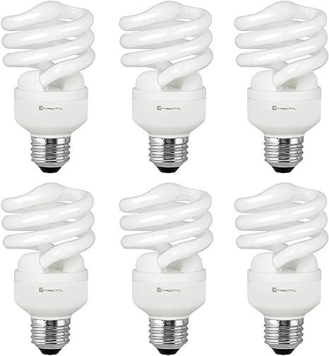 Compact Fluorescent Light Bulb T2 Spiral Cfl 5000k Daylight 13w 60 Watt Equivalent 900 Lumens E26 Medium Base 120v Ul Listed Pack Of 6 Amazon Com