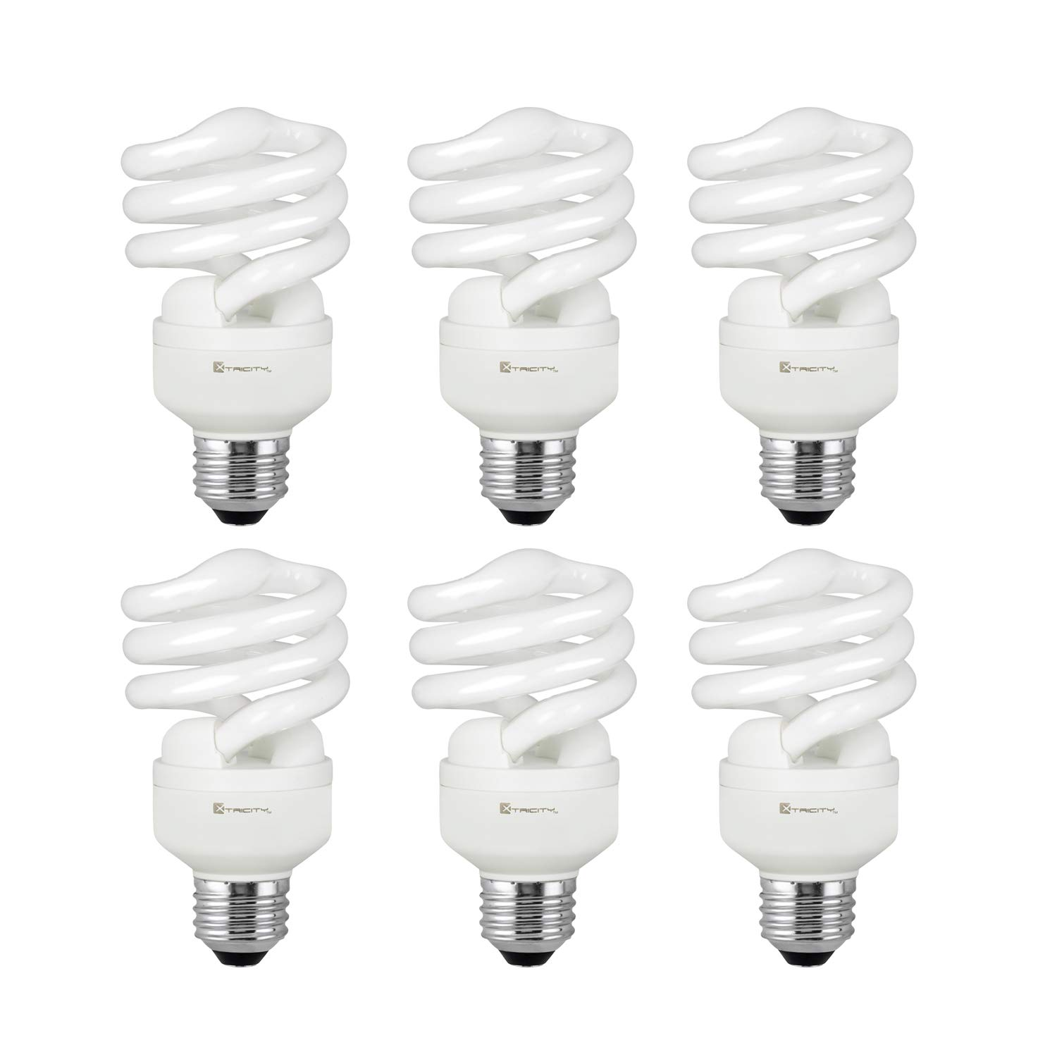 Compact Fluorescent Light Bulb T2 Spiral CFL, 5000k Daylight, 13W (60 Watt Equivalent), 900 Lumens, E26 Medium Base, 120V, UL Listed (Pack of 6)