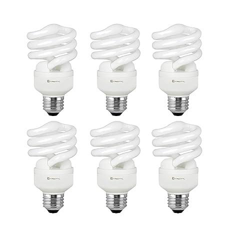 Compact Fluorescent Light Bulb T2 Spiral CFL, 4100k Cool White, 13W (60 Watt Equivalent), 900 Lumens, E26 Medium Base, 120V, UL Listed (Pack of 6) ...