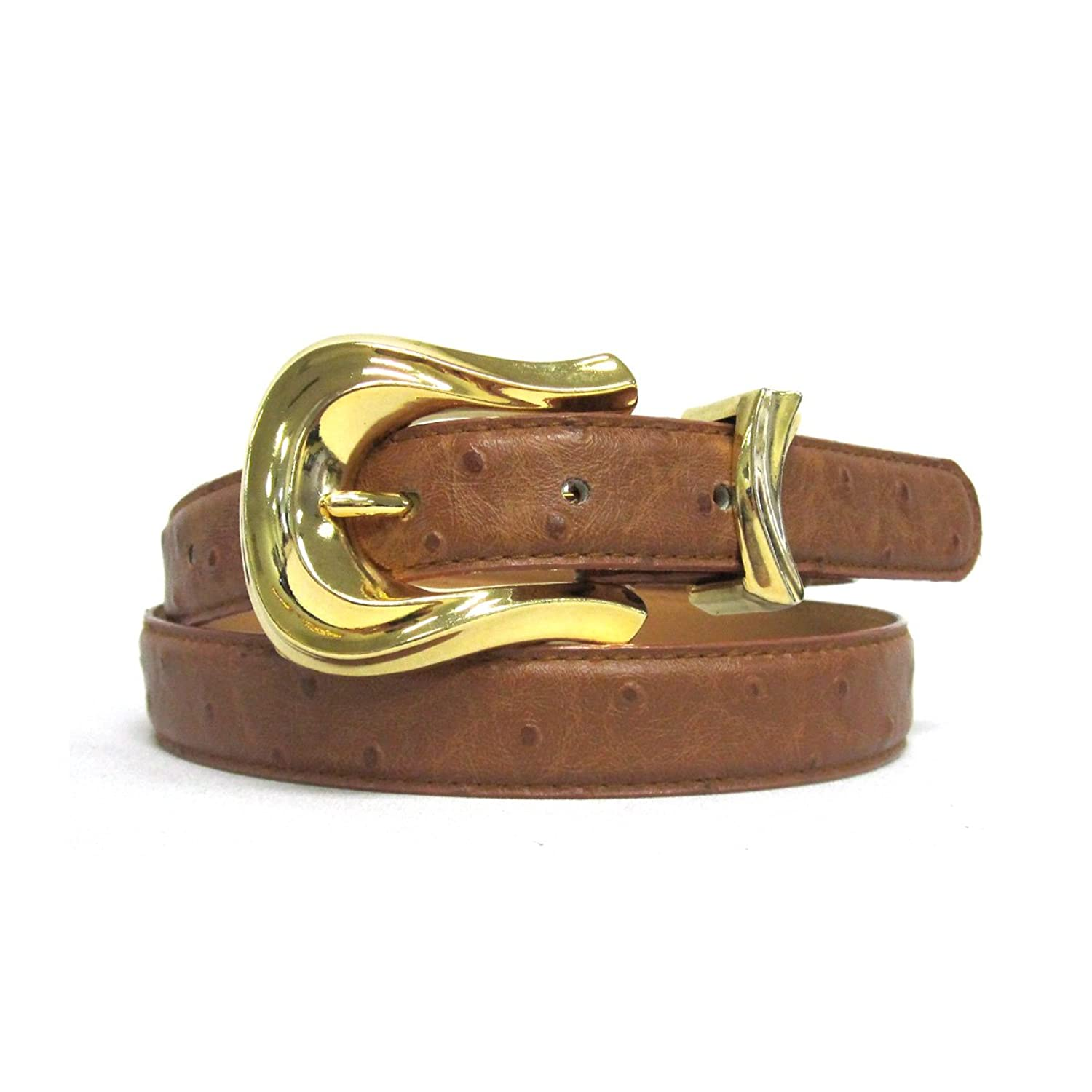 "1"" Women's Gold Plated Buckle on Quality Ostrich Embossed Leatherette Belt Strap"