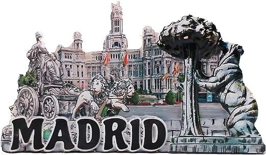 Imán para nevera con diseño de Madrid España en 3D, ideal como regalo de viaje, decoración del hogar, decoración de la cocina, colección de imanes para nevera: Amazon.es: Hogar